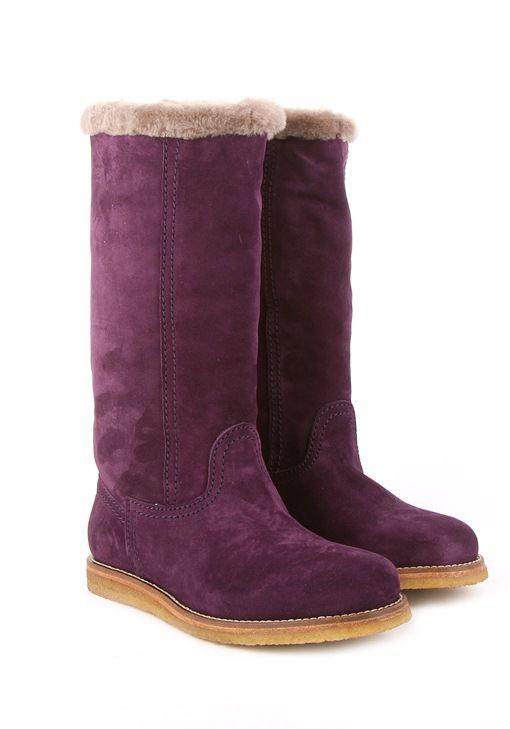 Alexander Hotto Фиолетовые замшевые зимние женские сапоги Alexander Hotto на плоской подошве