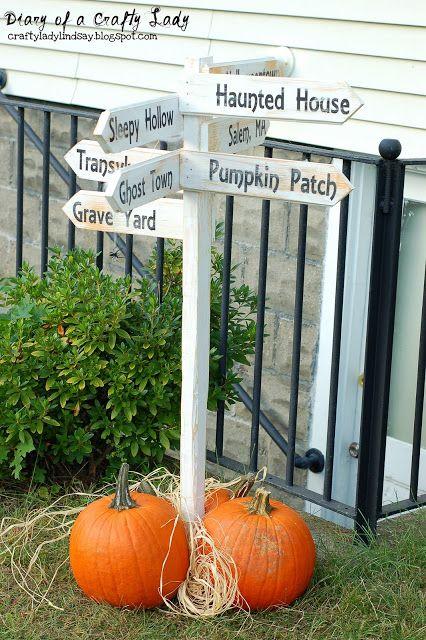 Halloween Directional Wooden Post Sign