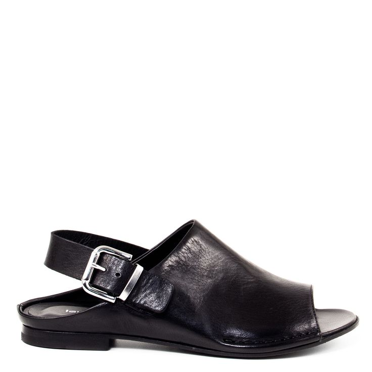 Laura Bellariva Mare 6104 Women's Black Flat Slide Mule Sling-back Sandals