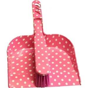 Bright Pink with White Polka Dot Design Dustpan & Brush Set (183/354): Amazon.co.uk: Kitchen & Home