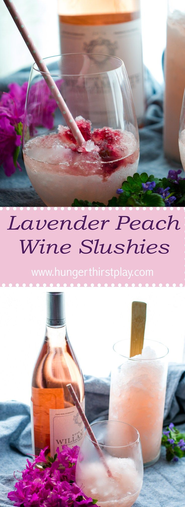 Lavender Peach Wine Slushies | Slighty floral with a perfect pink color.  Easy to make and perfect for your next brunch or BBQ!