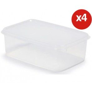 Airtight Plastic Storage 1 Litre Rectangle Container (4 Pack)