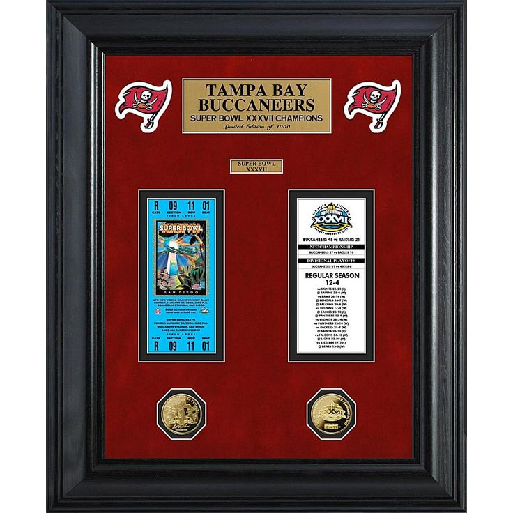 The Highland Mint Tampa Bay Buccaneers Framed Super Bowl Ticket and Game Coin Collection