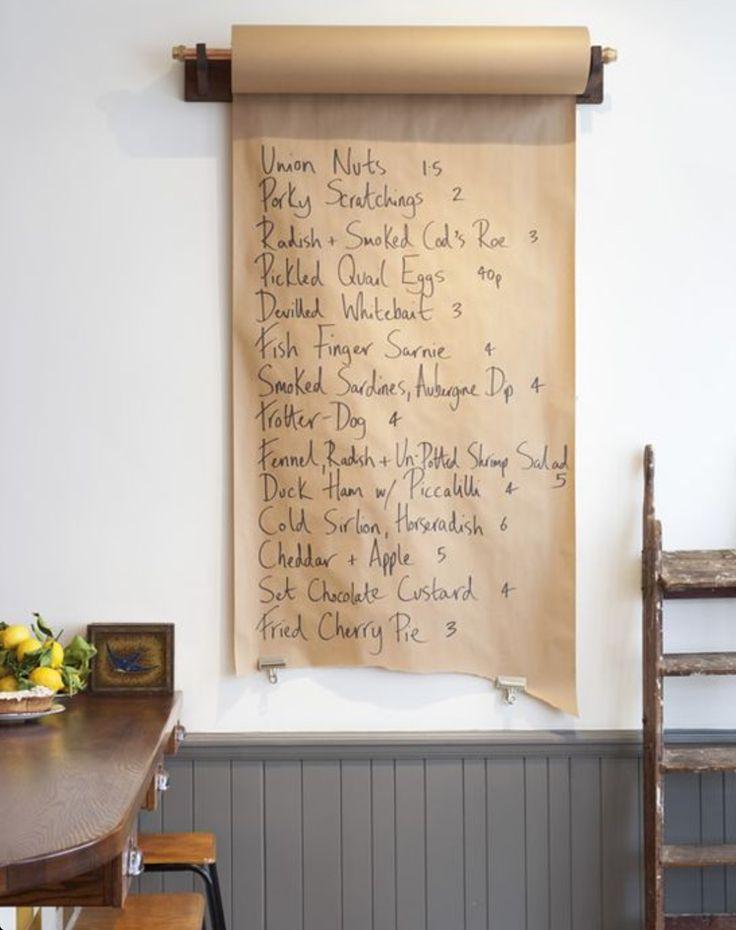 Paper menu. Cool idea for the kitchen.