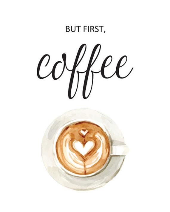 """Wall Art Kitchen Print """"But First, Coffee"""". Printable Watercolor Calligraphy Poster for Home Decor or Coffee Lover Gift. Instant Download"""