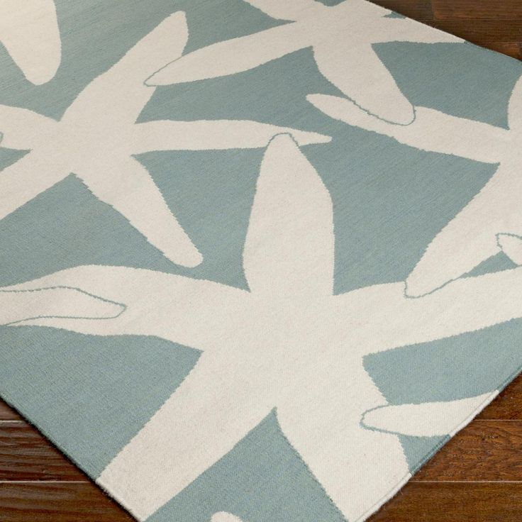 Starfish Wool Dhurrie Rug Blue Green Or Grey Look Close This Is A Flat Weave Version Of One Our Most Por Nautical Coastal Pattern Area