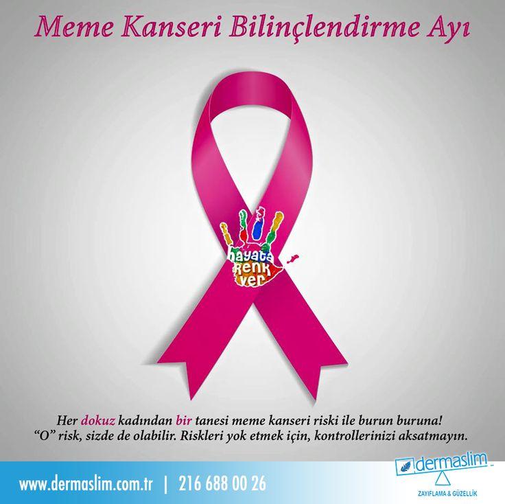 Her dokuz kadından bir tanesi meme kanseri ile burun buruna! O bir kadın sen olma, kontrollerini aksatma! ☺ #dermaslim #hayatarenkver #maskendenkorkma #memekanseri
