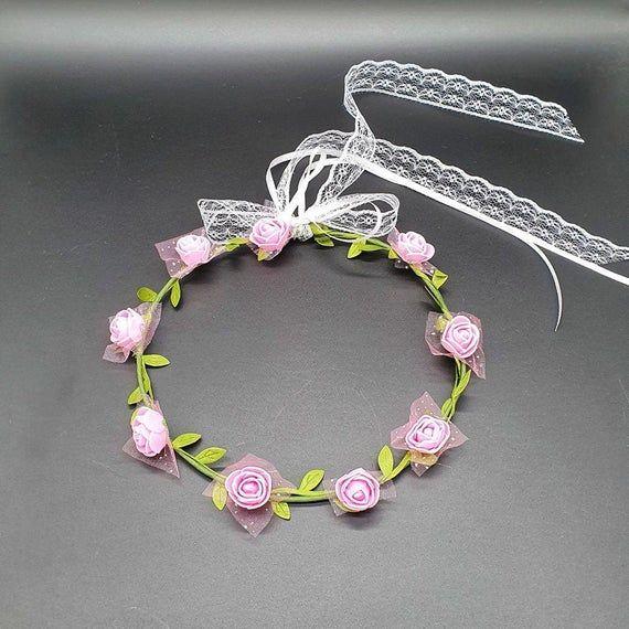 Haarschmuck Hochzeit Kopfschmuck Haareif Künstliche Blumen Brautschmuck Kommunion Blumenmädchen Schleife Spitze Abiball – zuzi's deko