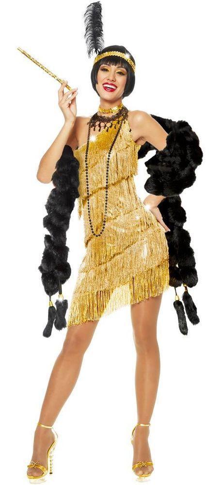 1920S ROARING 20'S ADULT WOMENS GOLD DAZZLING FLAPPER GATSBY COSTUME DRESS #Dress