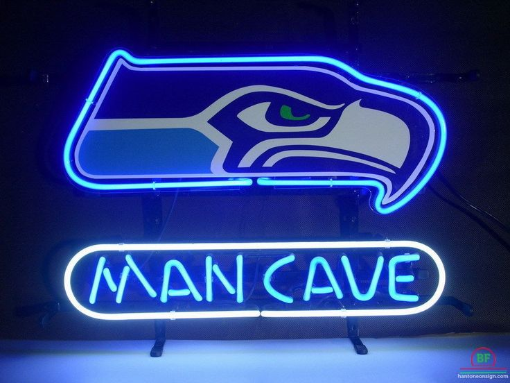 cave neon seahawks sign seattle light bar beer lighting lights nfl garage pool table signs pub glass teams urby x14
