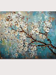 Handgeschilderde+Abstract+Bloemenmotief/Botanisch+Horizontaal,Modern+Eén+paneel+Canvas+Hang-geschilderd+olieverfschilderij+For++–+EUR+€+96.02