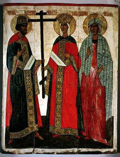 Icon depicting SS. Constantine, Helena and Agatha, Novgorod School, c.1500.