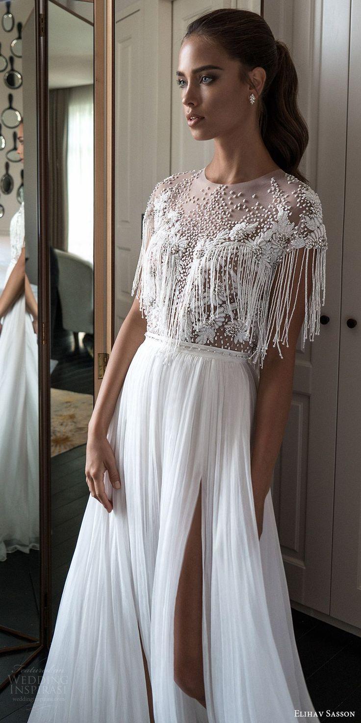 elihav sasson spring 2018 bridal jewel neck cap sleeves fringe beaded bodice a line wedding dress (vj 01) slit skirt mv boho -- Elihav Sasson 2018 Wedding Dresses