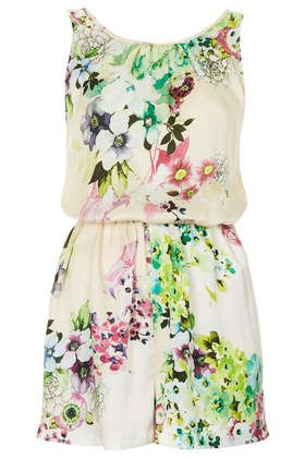 **Floral Printed Playsuit by Rare - Topshop