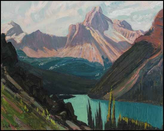 """Study for """"Lake O'Hara and Cathedral Mountain, Rockies,"""" James Edward Hervey MacDonald, ca. 1924–1927, oil on board, 8.5 x 10.5"""", private collection."""