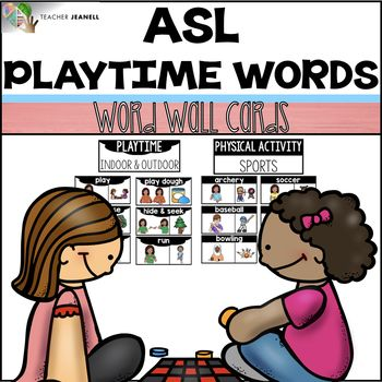 American Sign Language ASL Word Wall Cards (Playtime Words) - This asl word wall resource includes 44 playtime themed cards. These word wall cards can be used to introduce and reinforce asl playtime word signs. Each card includes the the asl sign, word, and visual representation. These cards will provide your students with a visual aid throughout the year.