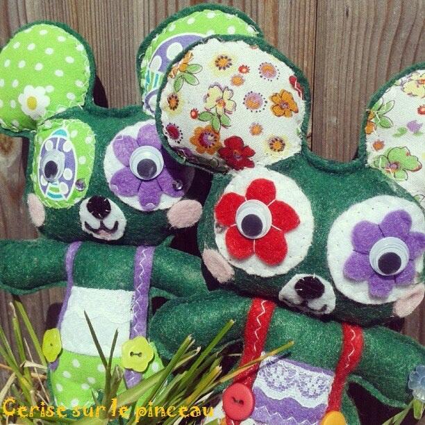 souris vertes en feutrine  green mouse