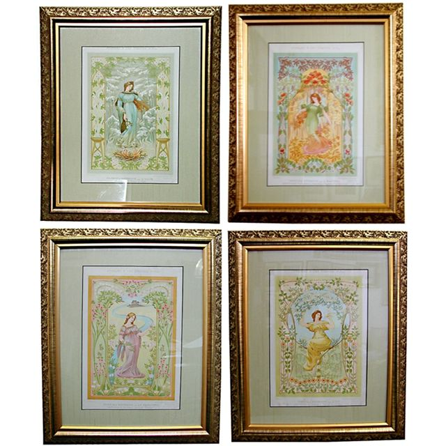 Set of four beautiful French Art Nouveau prints of woman in their original  frames. Elegant