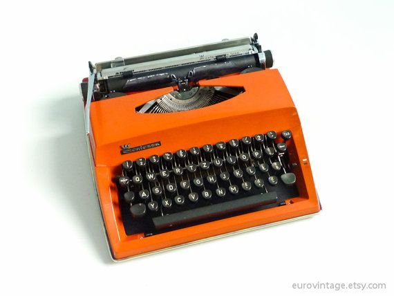 Vintage Burnt Orange Contessa DeLuxe Portable Typewriter Triumph Adler