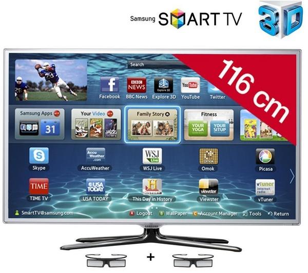 Samsung t l viseur led smart tv 3d ue46es6710sxzf blanc prix promo pixmania - Discount televiseur led ...