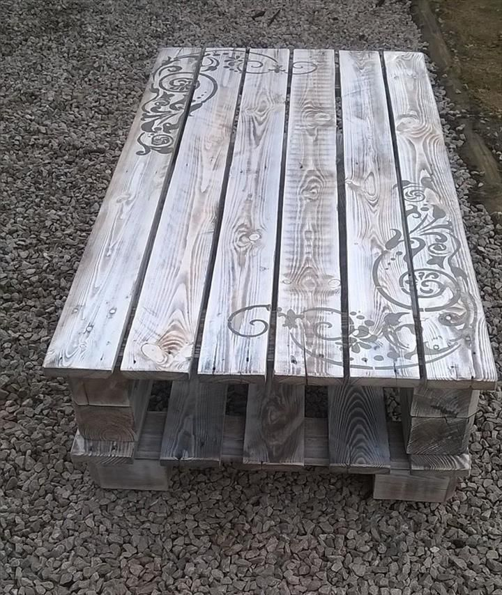 Pallet Coffee Table with Artistic Scrolls | Pallet Furniture DIY
