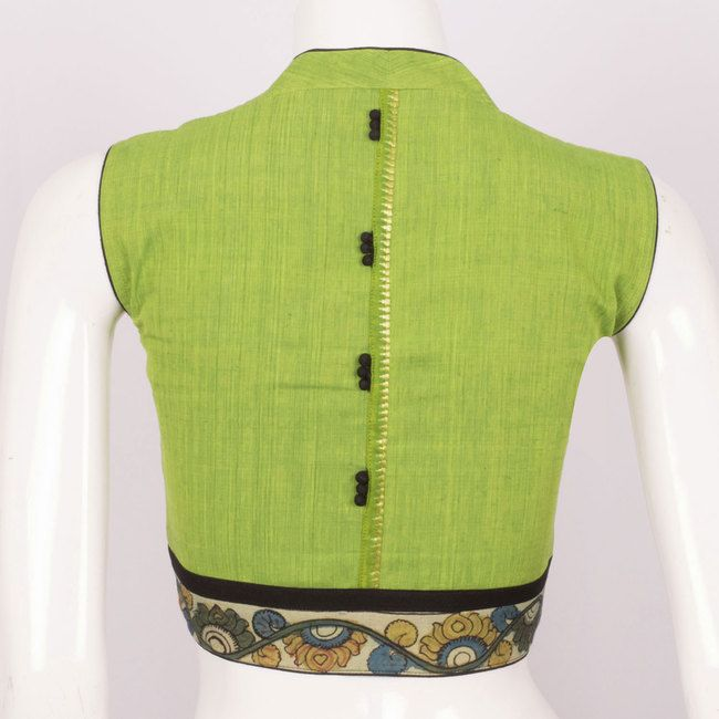 Handcrafted Green Cotton Blouse With Sleeveless & Collar Neck 10013283 - Size 36 - back - AVISHYA.COM