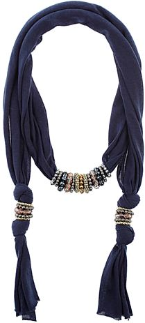 Navy Fabric scarf neckwear embellished with silver tone, gold tone, pink and navy beads.