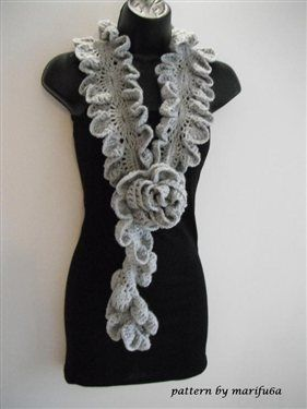 how to Crochet ruffle rose scarf free pattern tutorial for beginners - Media - Crochet Me
