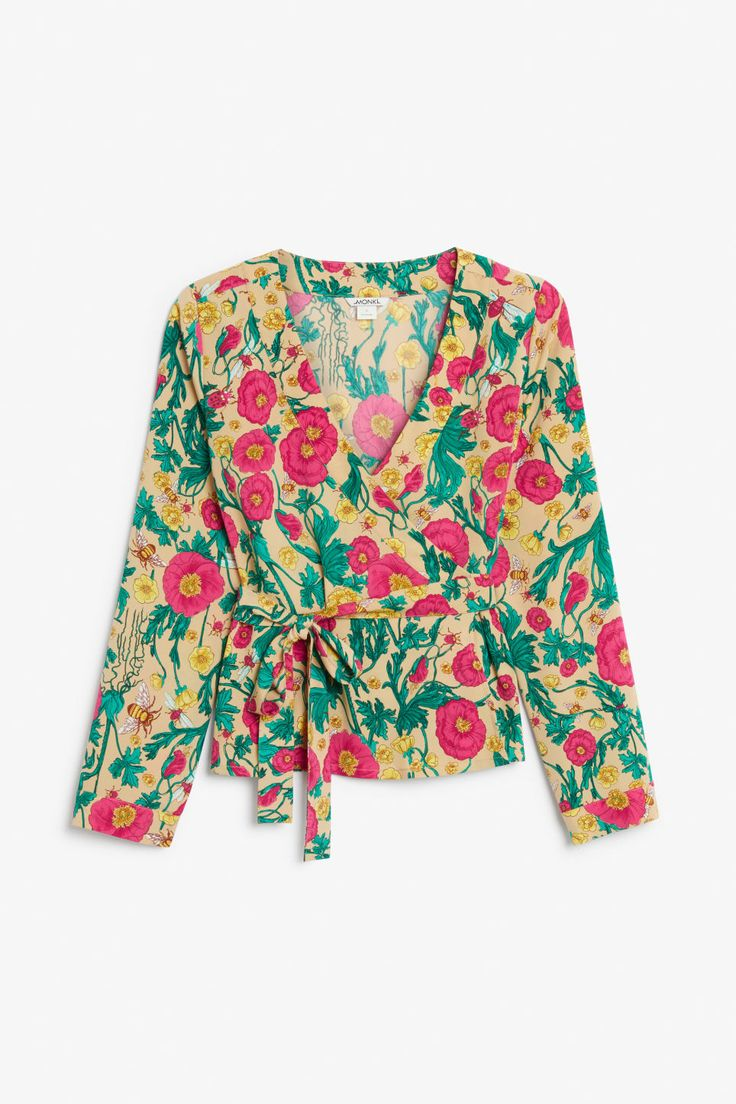 Wrap blouse - Flowers and bees - Tops - Monki SE