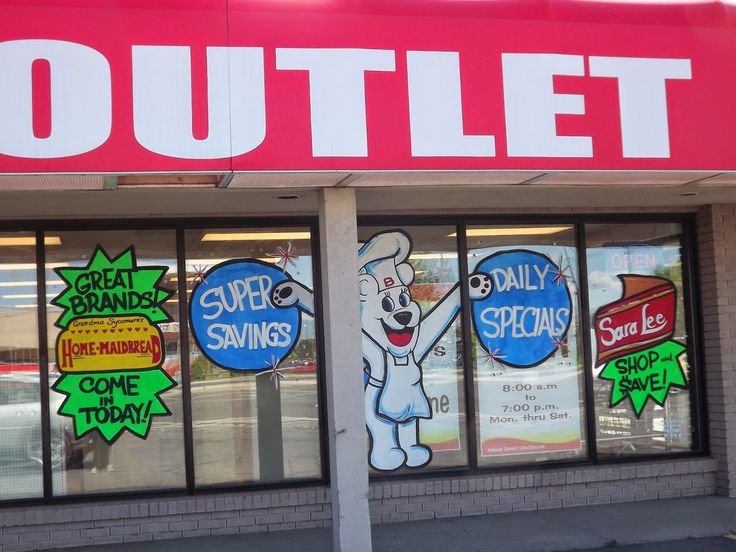 Whimsical Window Painting: Bimbo Bakery Outlet American Fork and Murray Utah