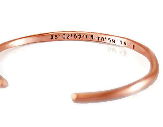 Custom Coordinates Copper Cuff Bracelet.