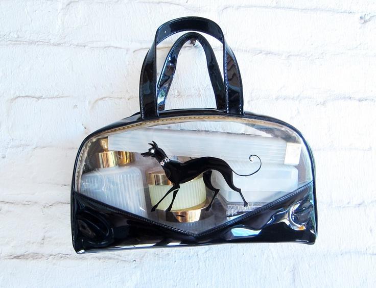 Vintage 1950s travel case black vinyl Greyhound rhinestones.