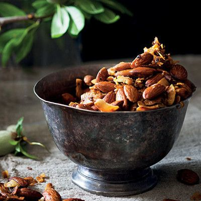 Taste Mag   Spicy rose-and coconut almonds @ https://taste.co.za/recipes/spicy-rose-and-coconut-almonds/