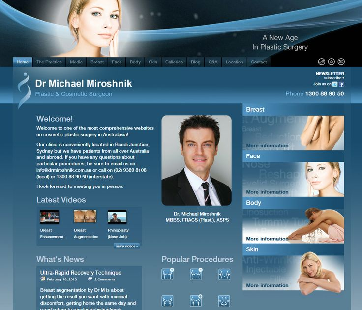 Providing Industry leading #website #design for high profile eastern suburbs cosmetic plastic surgeon. Design and simple navigation make this site a top #medical #website. The envy of many!