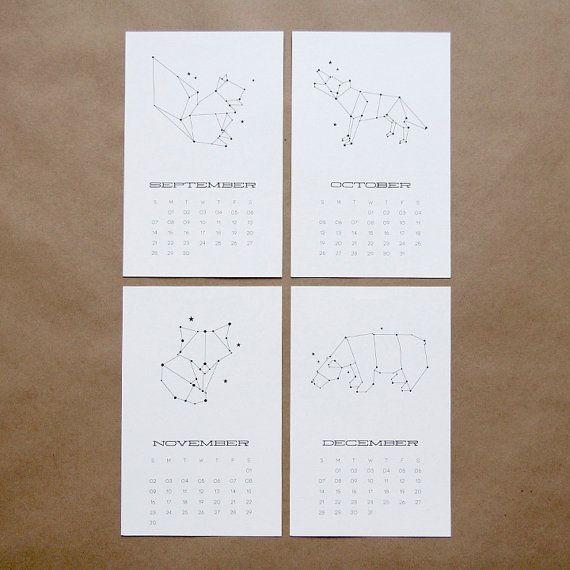 Calendario de pared 2014 constelación animales por 45wall en Etsy