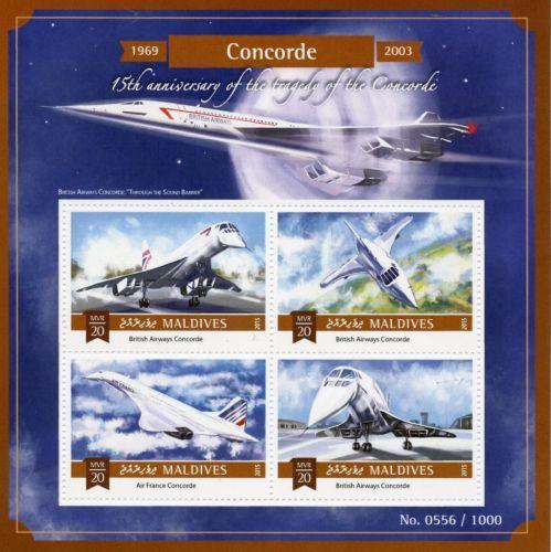 Maldives-2015-neuf-sans-charniere-CONCORDE-15e-anniv-tragedie-4V-m-s-Aviation-British-Airways