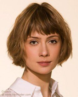 Cheek length bob cut for light brown hair. With bangs and easy to wear.