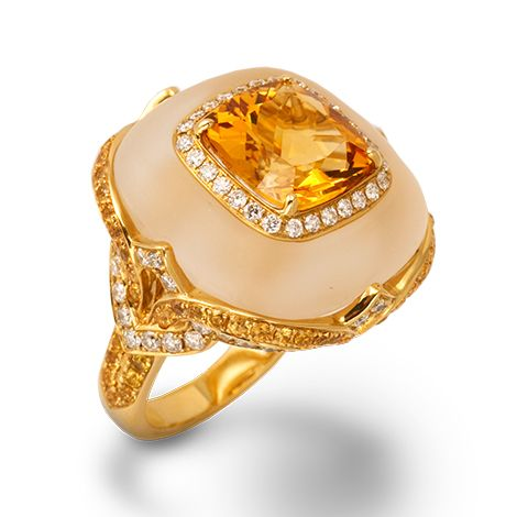 de Boulle Collection Dreamsicle ring. Citrine center stone set in frosted vanilla quartz, surrounded by yellow sapphires and diamonds.