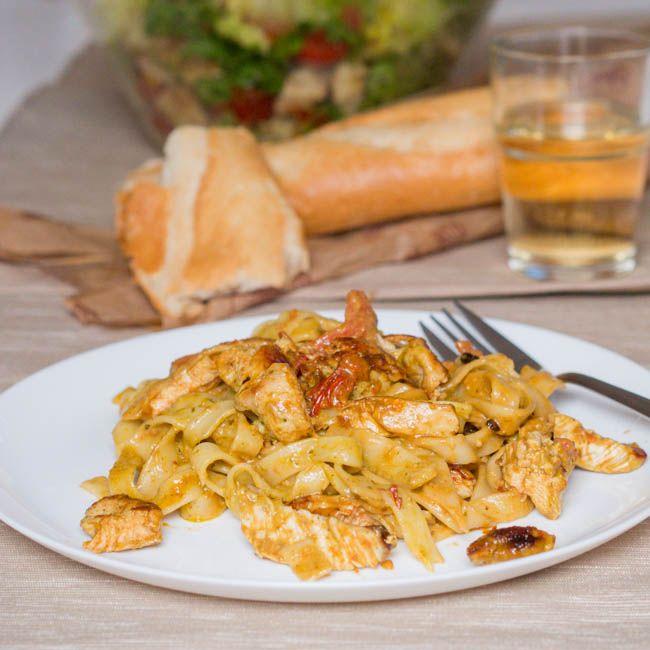 Tagliatelle with Pesto Chicken and Creme Fraiche