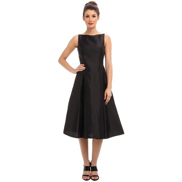 Adrianna Papell Sleeveless Tea Length Dress Women's Dress ($160) ❤ liked on Polyvore featuring dresses, black, boatneck dress, black dress, black fit flare dress, adrianna papell and boat neck dress