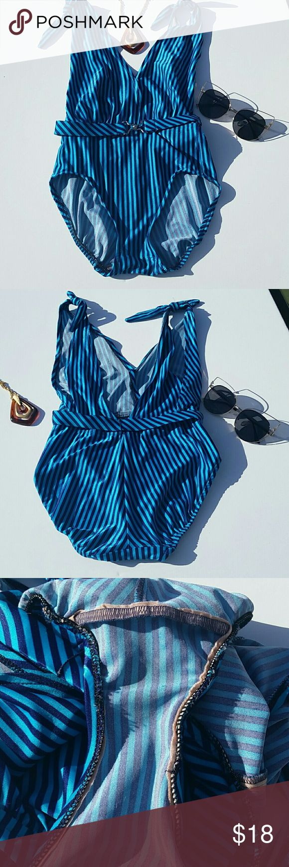 RETRO VINTAGE SWIMSUIT Retro vintage swimsuit. Turquoise and royal  vertical stripes. 70's babe with a touch of 90's club kid.  Protective linning cut out. Made in the USA Petticord label. VINTAGE  Swim One Pieces