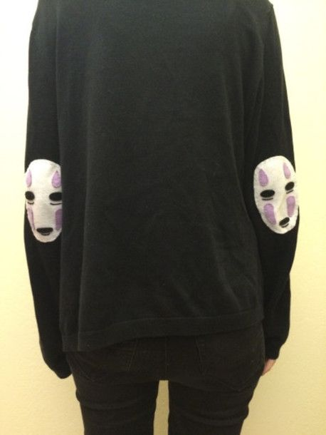 sweater spirited away sweatshirt sweatshirt kind grunge black soft grunge dark cool creepy no face anime jumper elbow patches pastel black sweater studio ghibli hoodie t-shirt hoodie sweater black crewneck anime? studio ghibli no-face tumblr goth purple nu goth