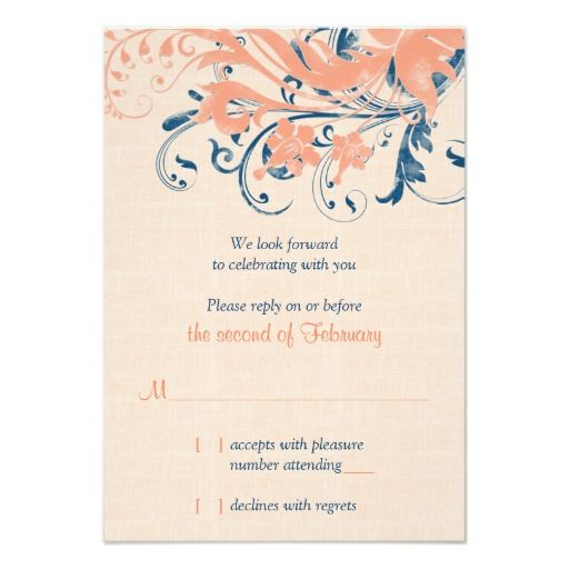 Marine Blue Coral Floral Wedding Reply Card