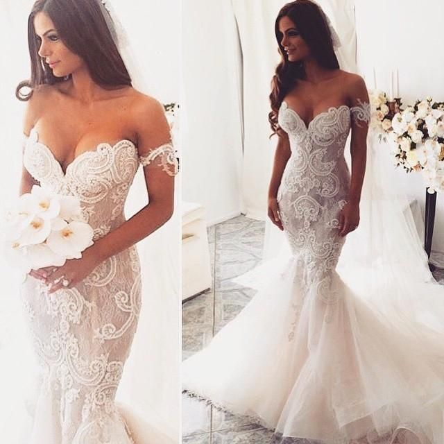 Free shipping, $182.2/Piece:buy wholesale 2015 Sexy Backless Strapless Wedding Dresses Sleeves Embroidery Nude Lace Organza Ruffles Puffy Mermaid Sweetheart Wedding Gown Custom Made from DHgate.com,get worldwide delivery and buyer protection service.