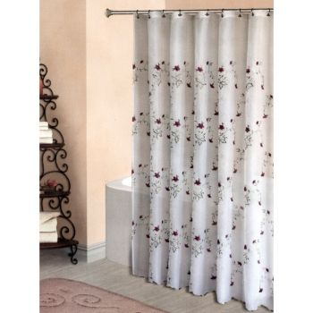 Loretta White W Pink Floral Shower Curtain W/ Available U0027Matchingu0027 Window  Treatment