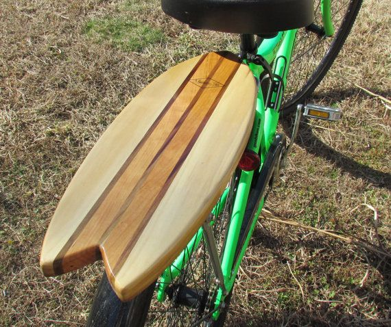 Get your beach cruiser ready for the summer with this one-of-a-kind retro fish surfboard rear rack. Be the only one sporting this solid wood surfboard