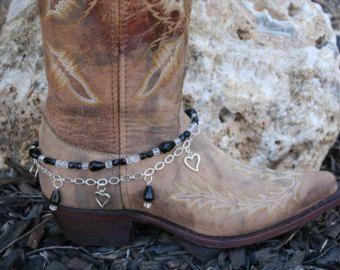 Boot snoep zwarte kristallen en harten met ketting 608113 Boot sieraden-Boot Bling-Boot armband-Boot accessoires