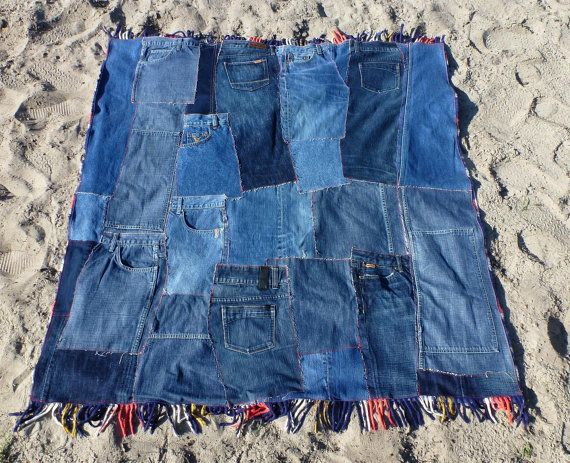Patchwork Denim Quilt, Plaid Picnic Blanket with Fringe, Eco Friendly Bedding, Dorm Room Decor, Childrens Room - Denim, Red and Blue Plaid