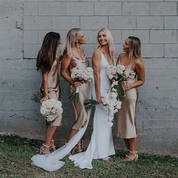 Bridesmaids Silk Slip Dresses Midi Silk Cami Dresses For Wedding