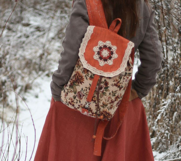 """Купить Льняной бохо - рюкзак """"Цветочный день"""" - рюкзак, рюкзачок, сумка-рюкзак, лен"""